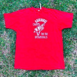 Vintage Hanes Rockhurst Champs 1989 Red Cotton Shi